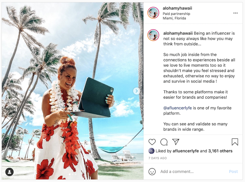 @alohamyhawaii   Instagram post promoting Afluencer
