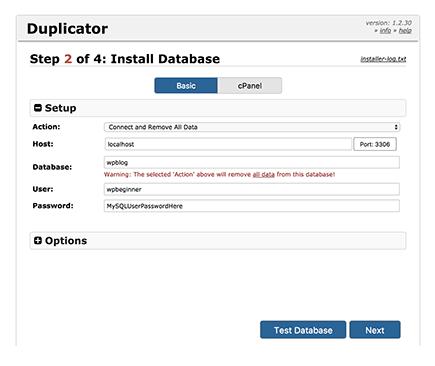 cài đặt database cho duplicator