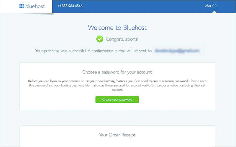 Bluehost password creation