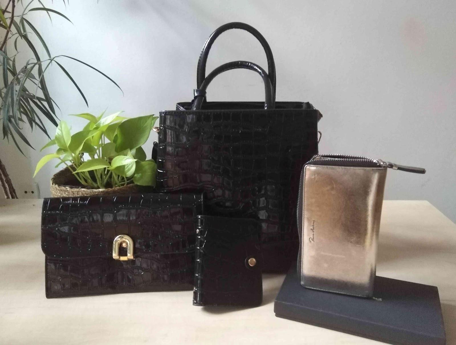 Recenze Ejavejo: Metalická peněženka na zip a set kabelek Kroko v černé barvě