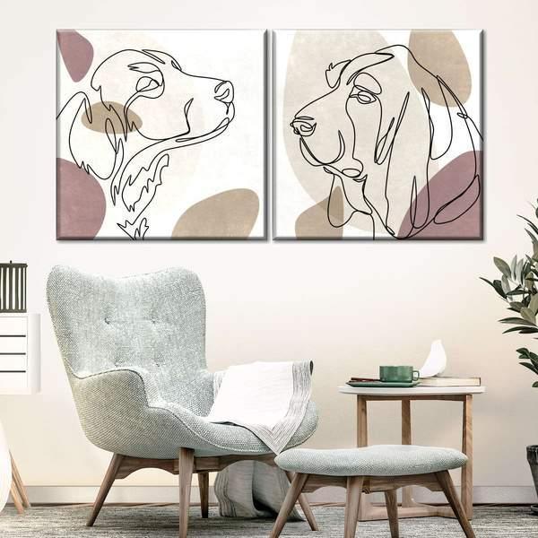 Dogs Portrait Canvas Set Wall Art