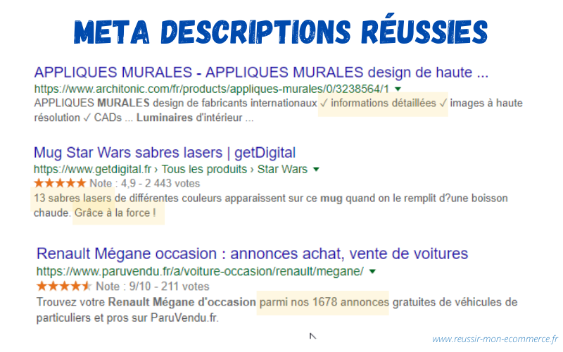 Exemples de meta descriptions réussies