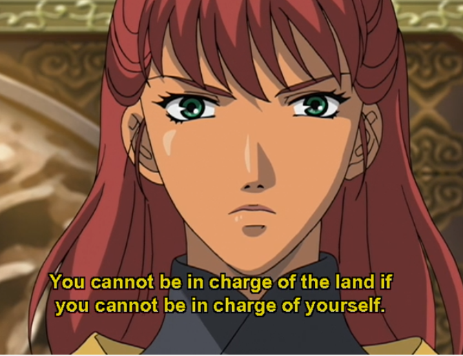 "Youko, looking determined. Subtitles read ""You cannot be in charge of the land if you cannot be in charge of yourself."""