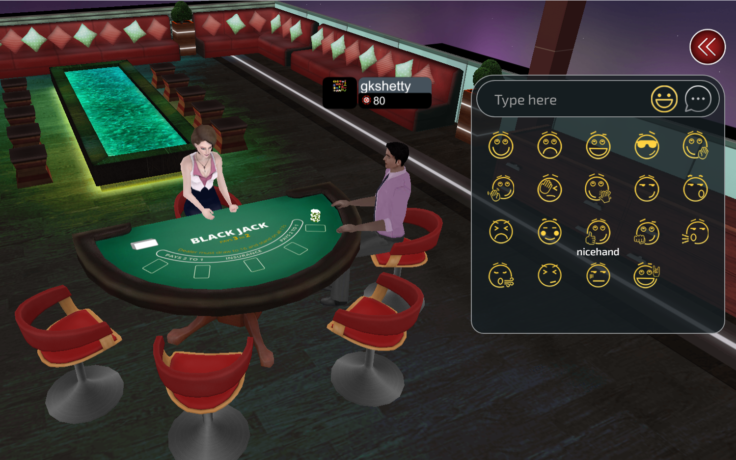 Chat feature in Gamentio blackjack card game