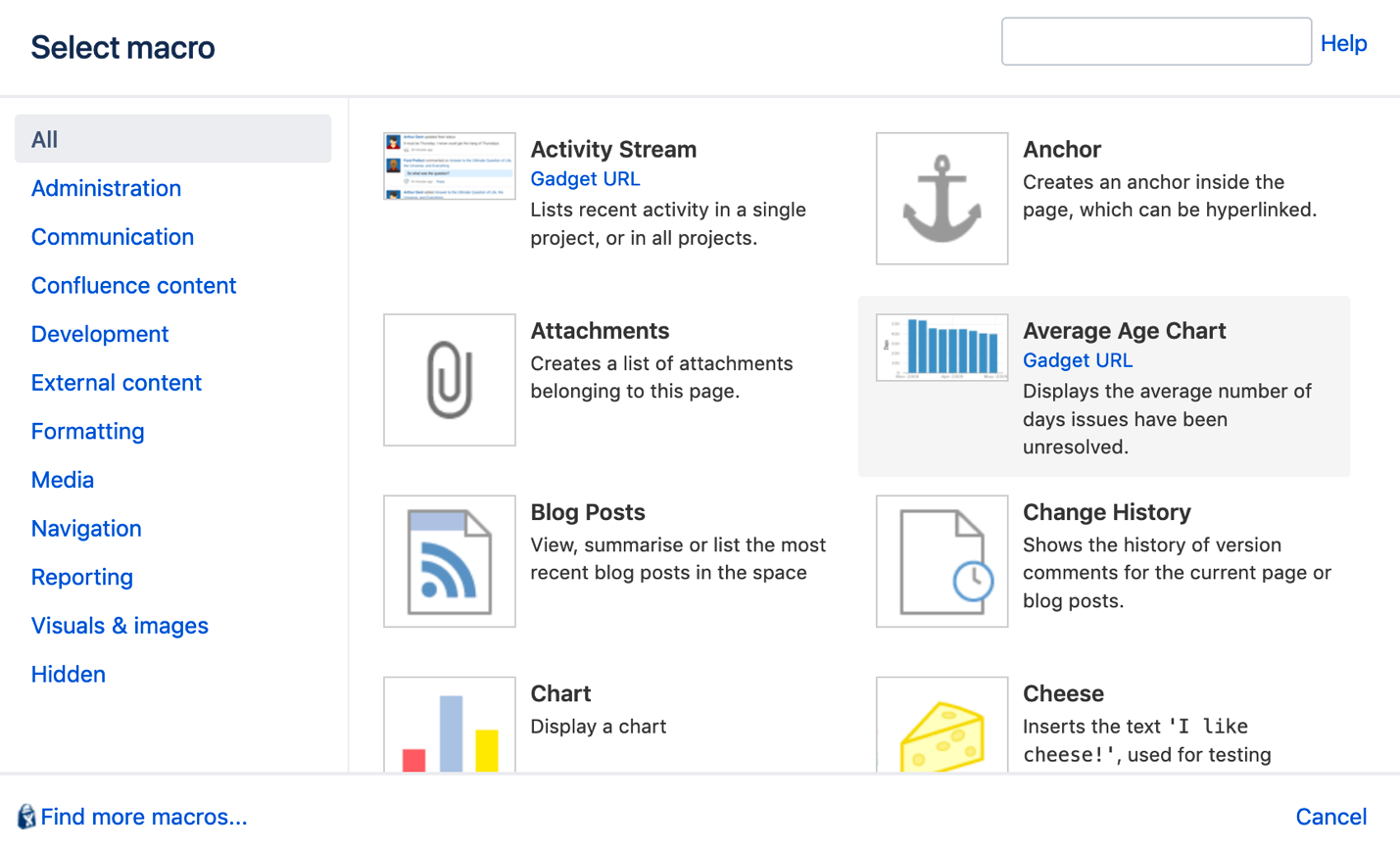 Jira gadget available in Confluence