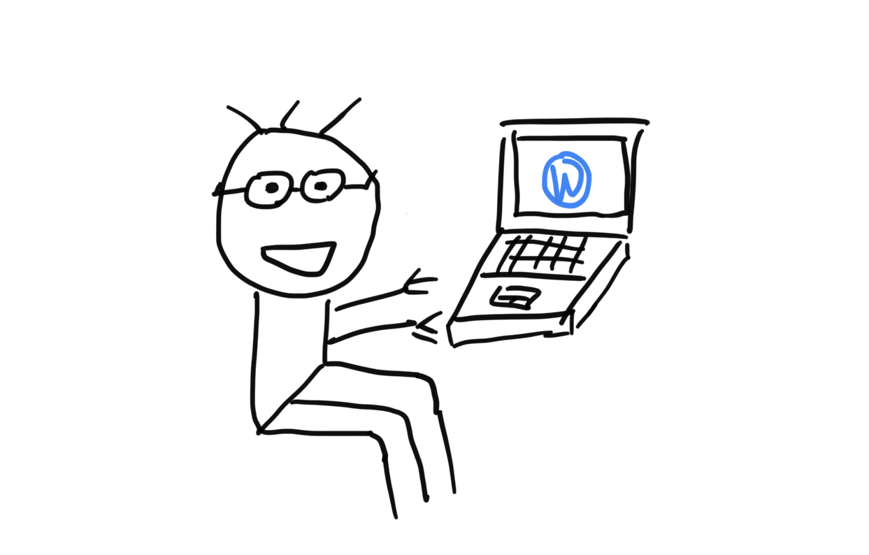 poorly drawn digital image of Mingjie on a floating computer with WordPress open