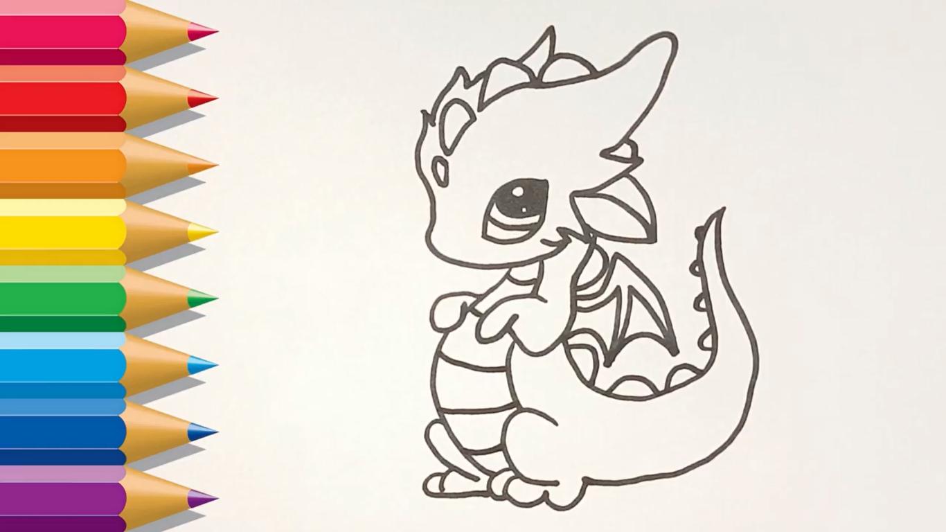 dibujo de dragon kawaii