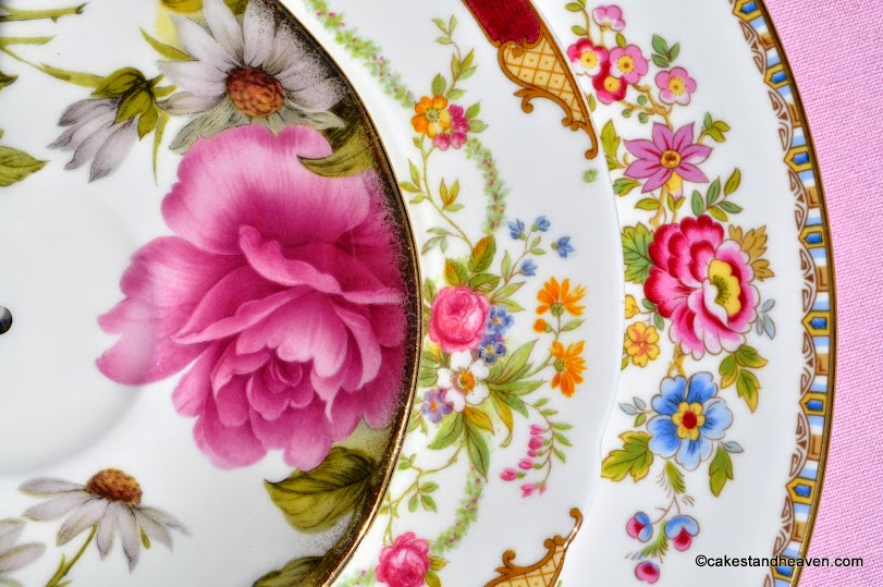Floral Beauty mismatched cake stand patterns