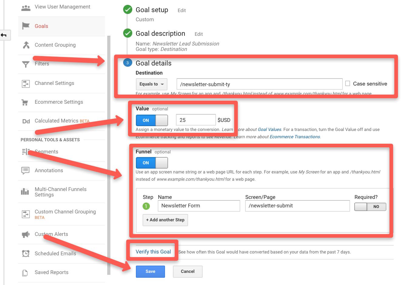 Google analytics goal destination