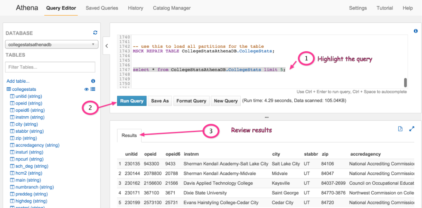 Viewing query results in Athena on AWS