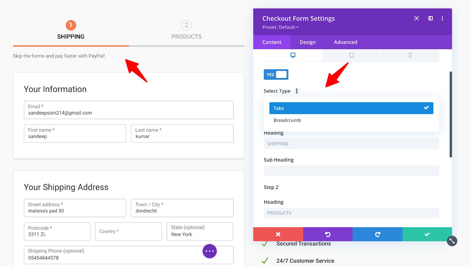 Content settings for Divi WF Checkout Form module