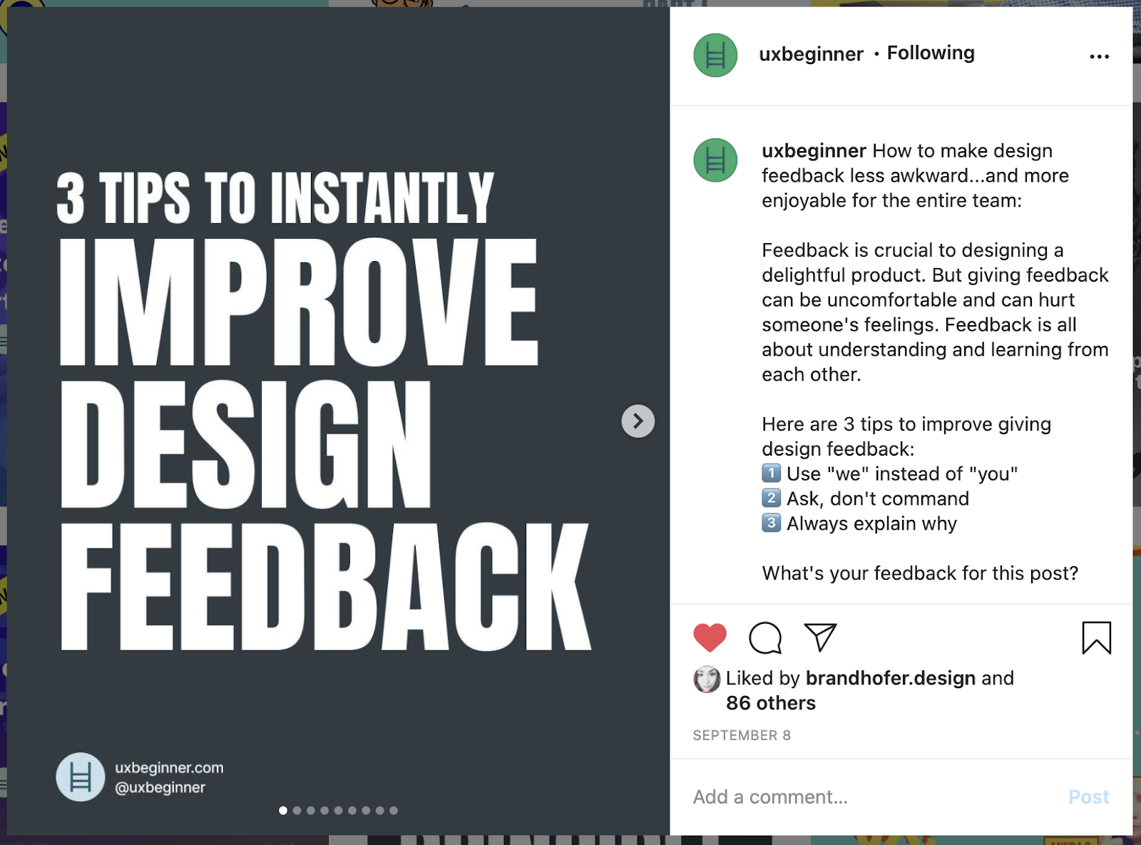 "screenshot of Instagram post with text reading ""3 tips to instantly improve design feedback"""