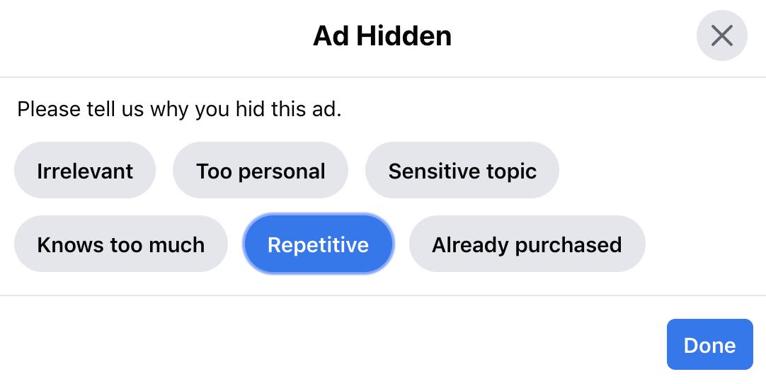 facebook ad hidden