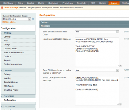 outstanding SMS Magento extension