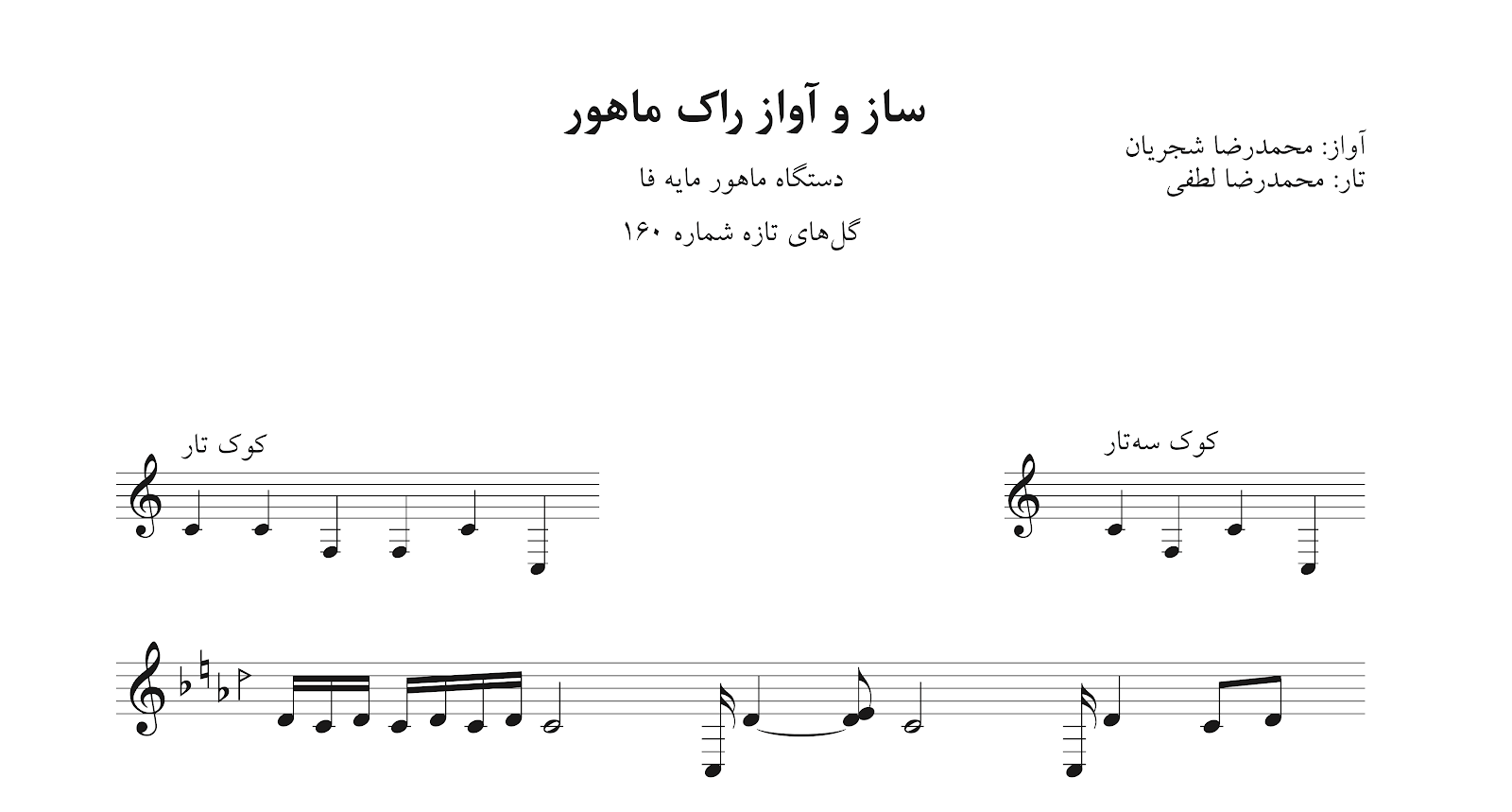 نت ساز و آواز محمدرضا لطفی تار و محمدرضا شجریان گلهای تازه ۱۶۰ راک دستگاه ماهور