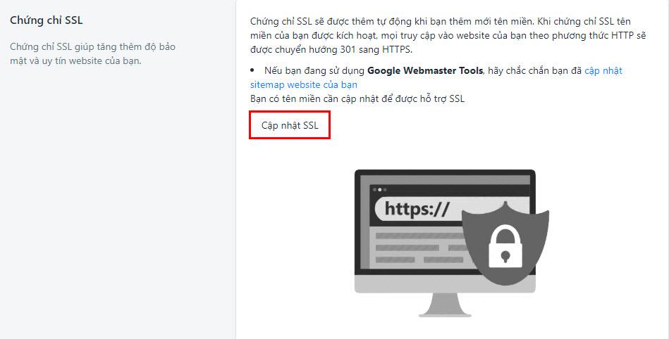 Cập nhật SSL để tối ưu SEO Sapo