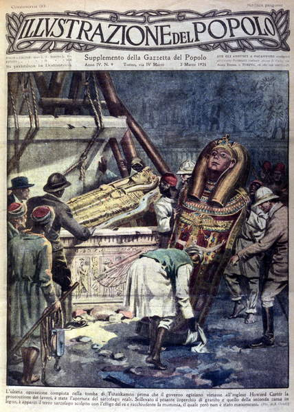"""Image of The opening of the sarcophagus of Pharaoh Tutankhamun by Howard Carter in Luxor in 1924. Discovery of Tutankhamun's treasure. Cover of """"""""L'illustrazione del popolo"""""""", © Giancarlo Costa / Bridgeman Images"""
