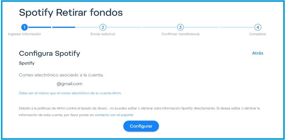Configura tu perfil Spotify en Airtm.