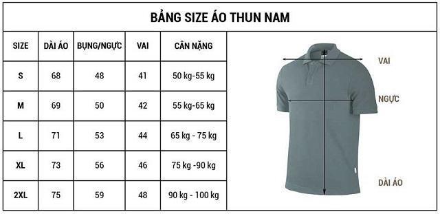 Bảng size áo thun nam theo chiều cao cân nặng