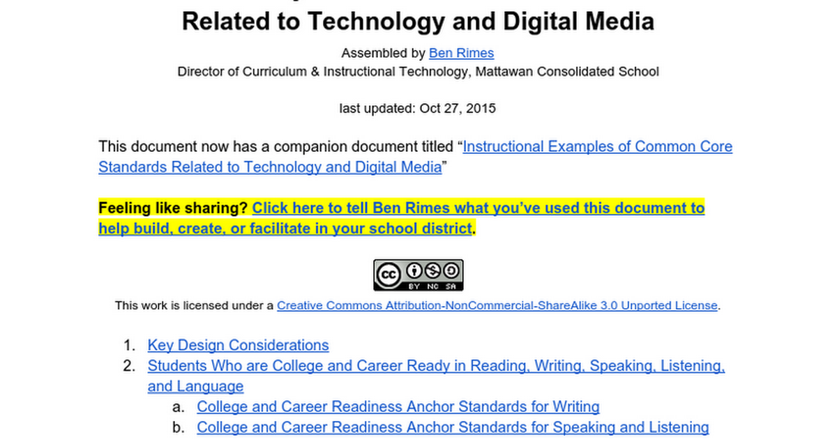 Common Core Standards Related To Technology Digital Media Google