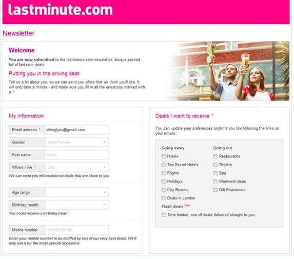 Example of a newsletter preference center