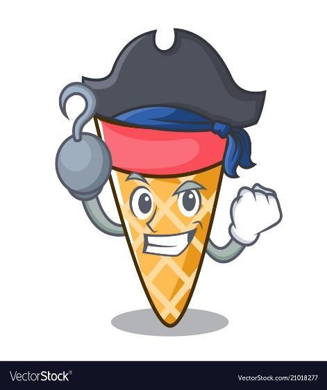 Pirate ice cream tone character cartoon Royalty Free Vector