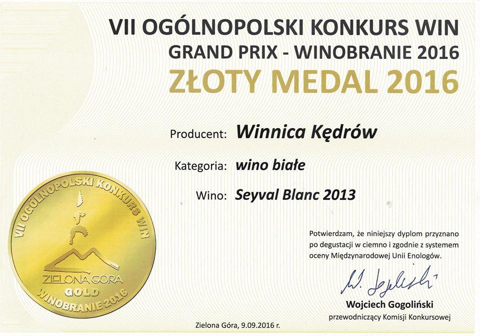 Dyplom i medal dla winnicy Kędrów