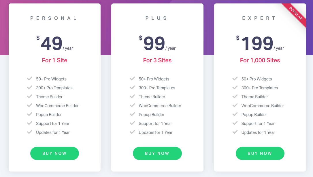 elementor wordpress page builder plugin pricing