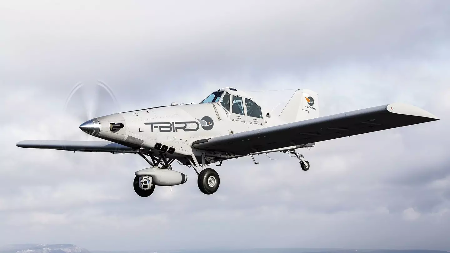 A militarily-modified crop duster called the T-Bird