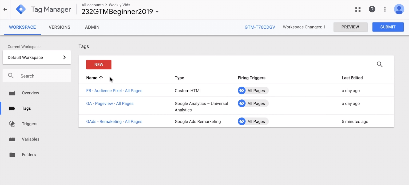 Google Tag Manager interface overview