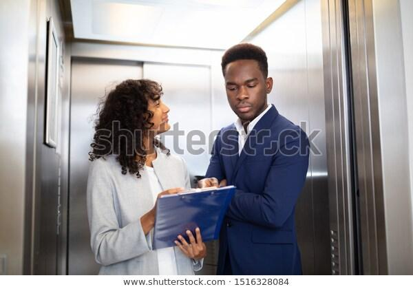 A skilled statistical analysis consultant makes a pitch to a potential client for good consulting freelance work in an elevator