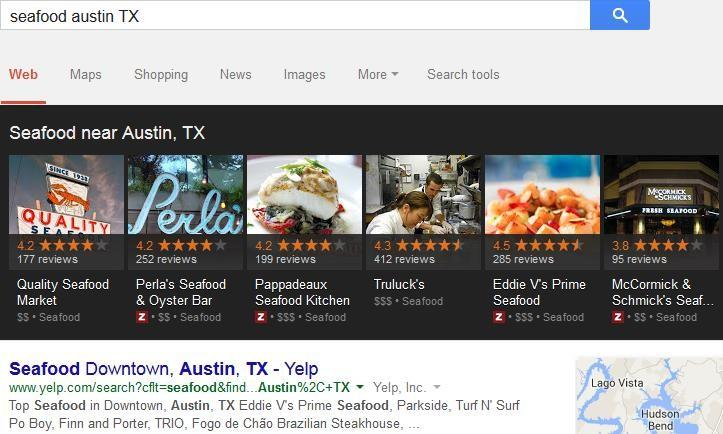 seafood restaurant near me Austin, Texas search appearance graphic
