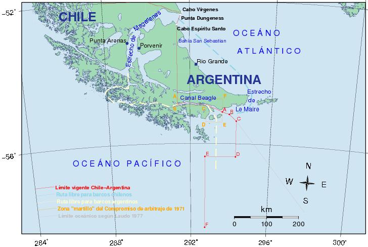 Mapa con los puntos de frontera marítima con Chile otorgados por el Tratado de Paz de 1984