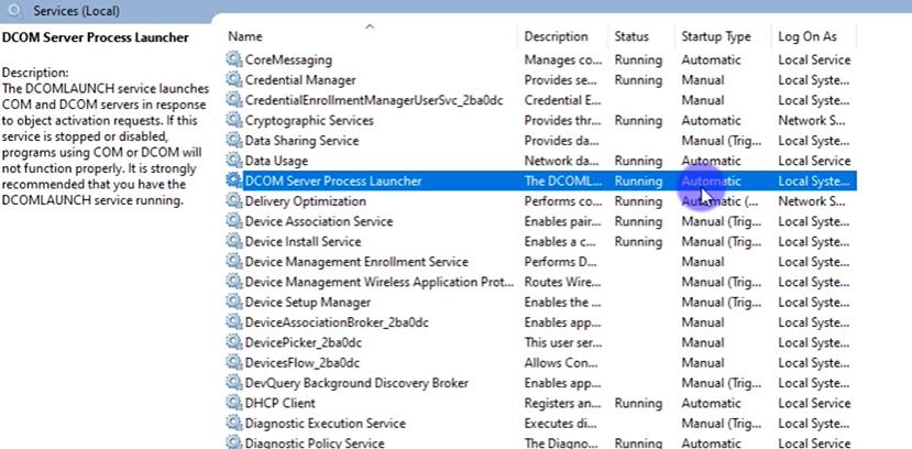 dcom server process launcher