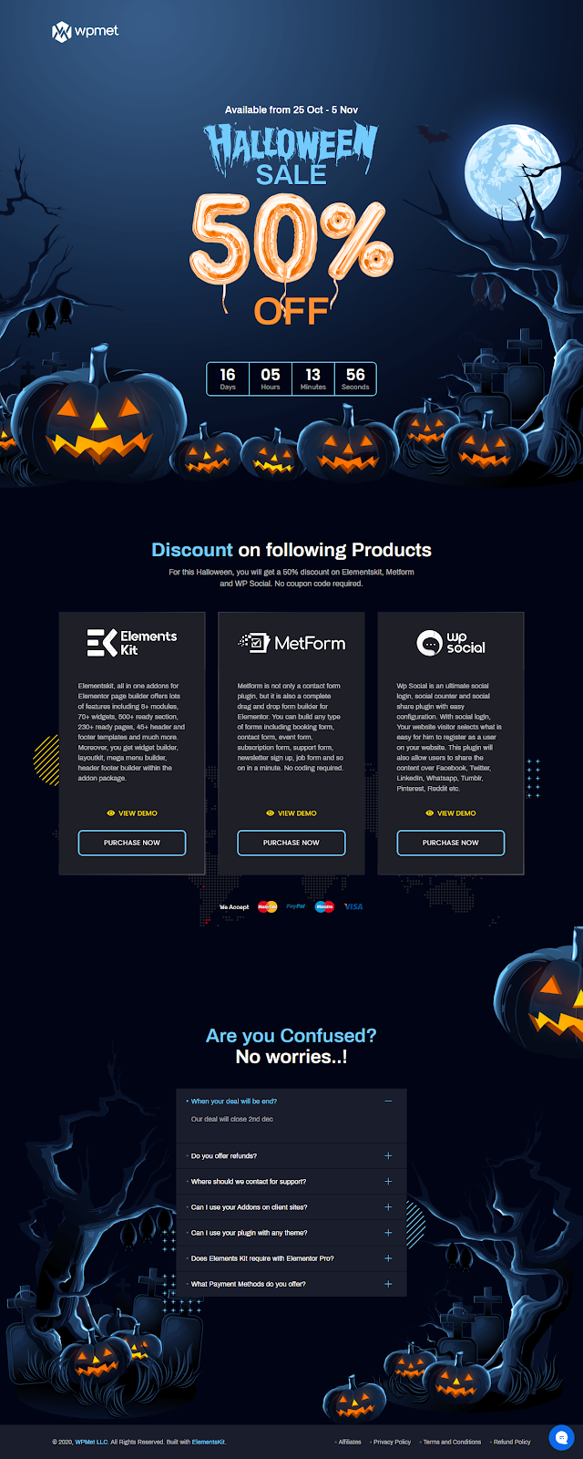 Elementskits WordPress Landing Page for Halloween Offers and deals by Elementor