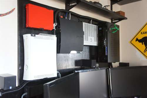 consoles mounted on wall