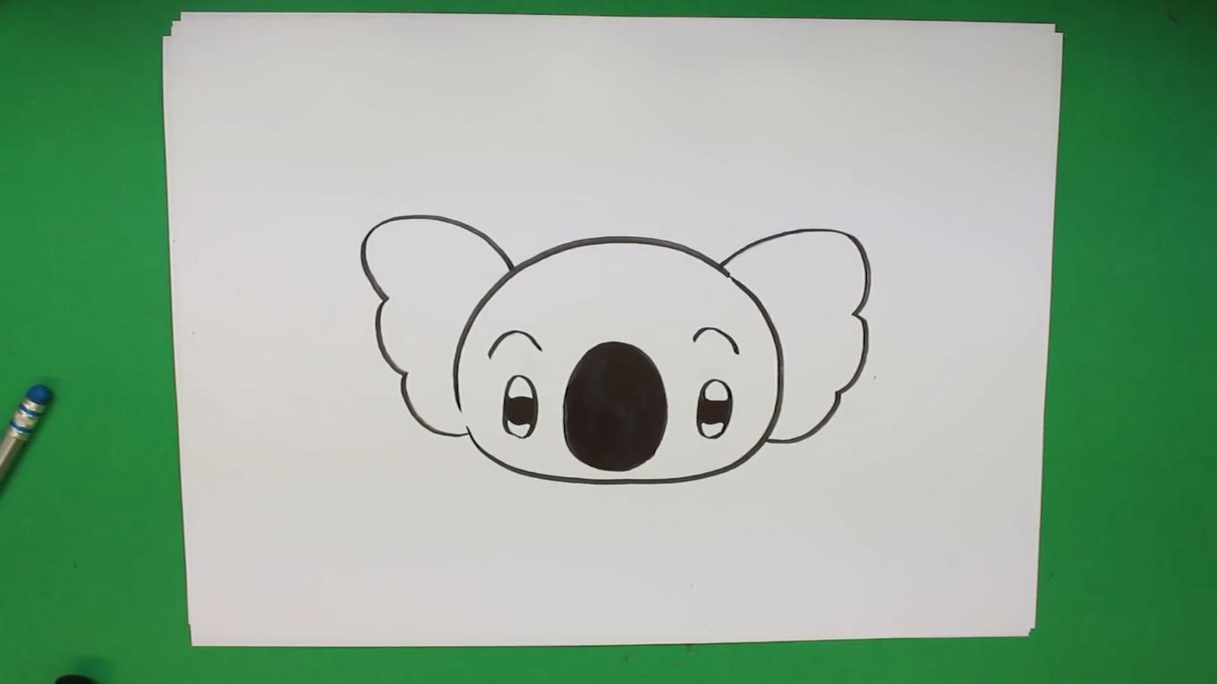 dibujo de koala kawaii para niños