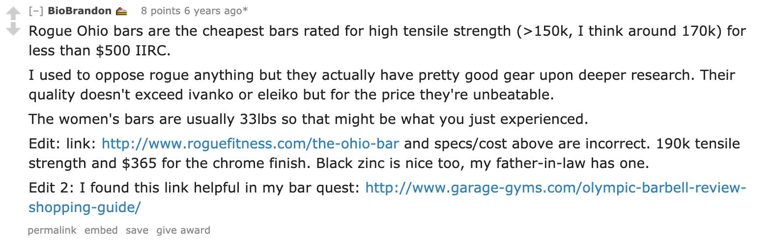 Reddit user BioBrandon details why Rogue Ohio bars are the cheapest bars rated for high tensile strength.