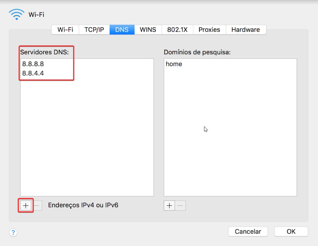 Mac OS Preferências do Sistema > Rede > DNS > Servidores DNS