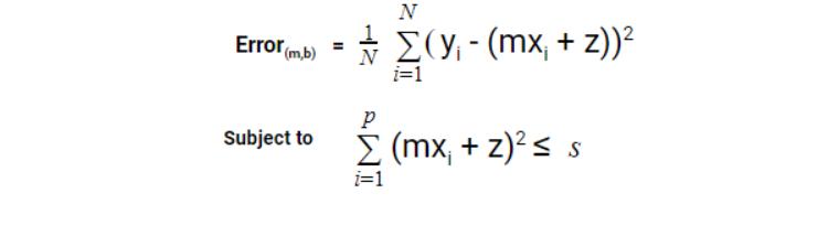 Calculation of error function in ridge regression