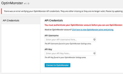 Thông tin API OptinMonster