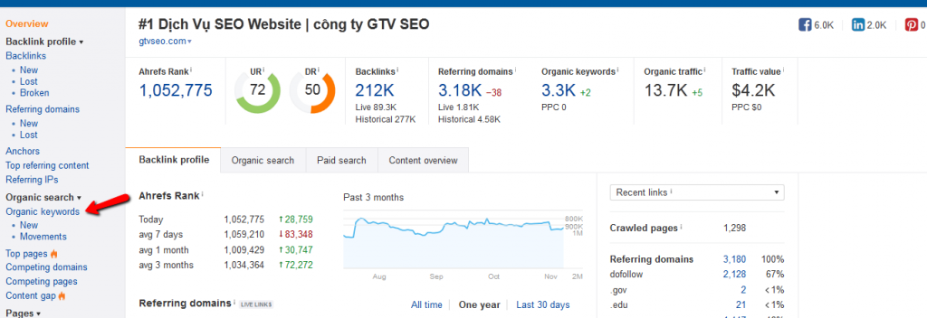 organic keywords GTV SEO