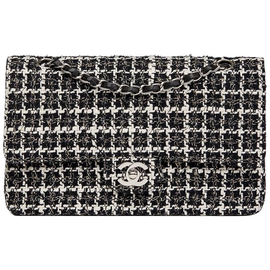 2004 Chanel Black and White Tweed Fabric Medium Classic Double ...