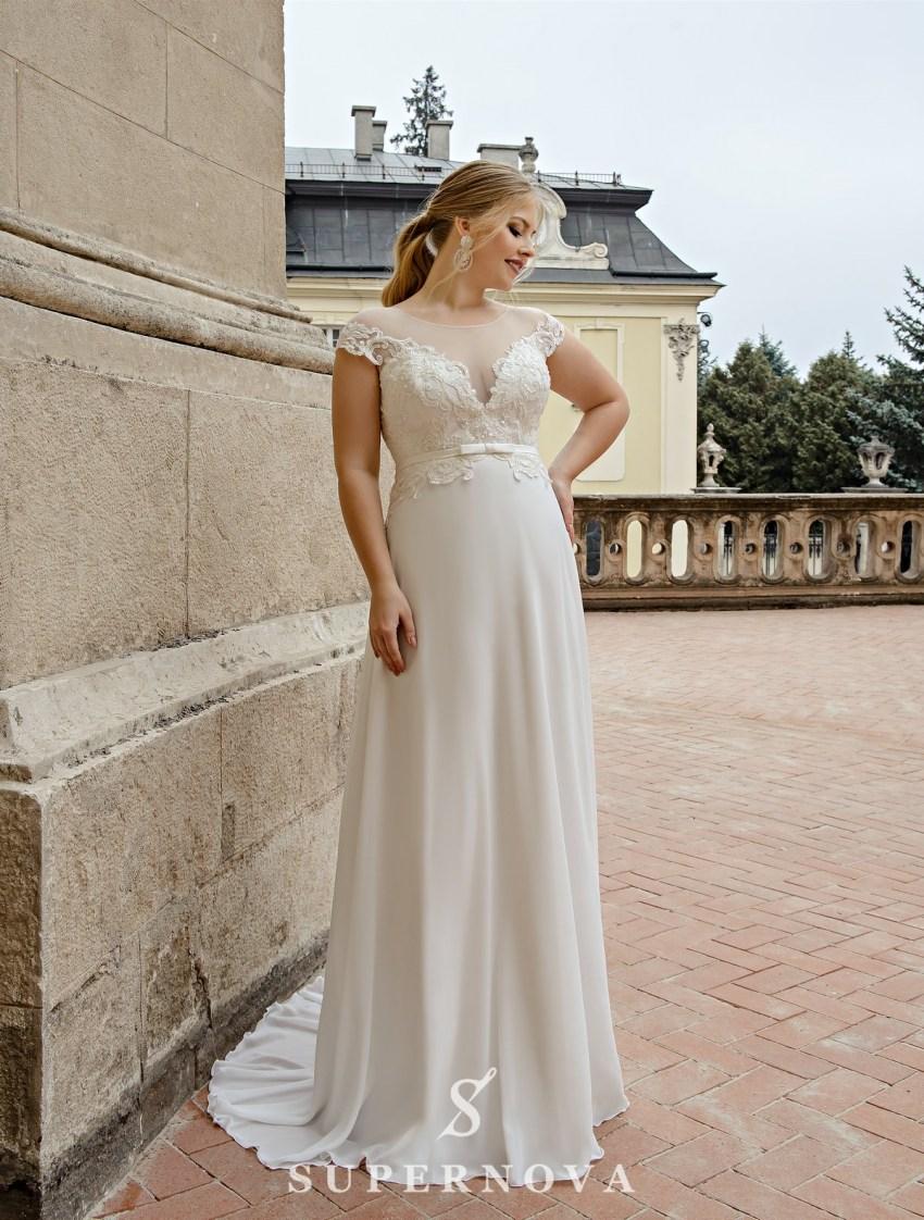 Прямое свадебное платье плюс сайз