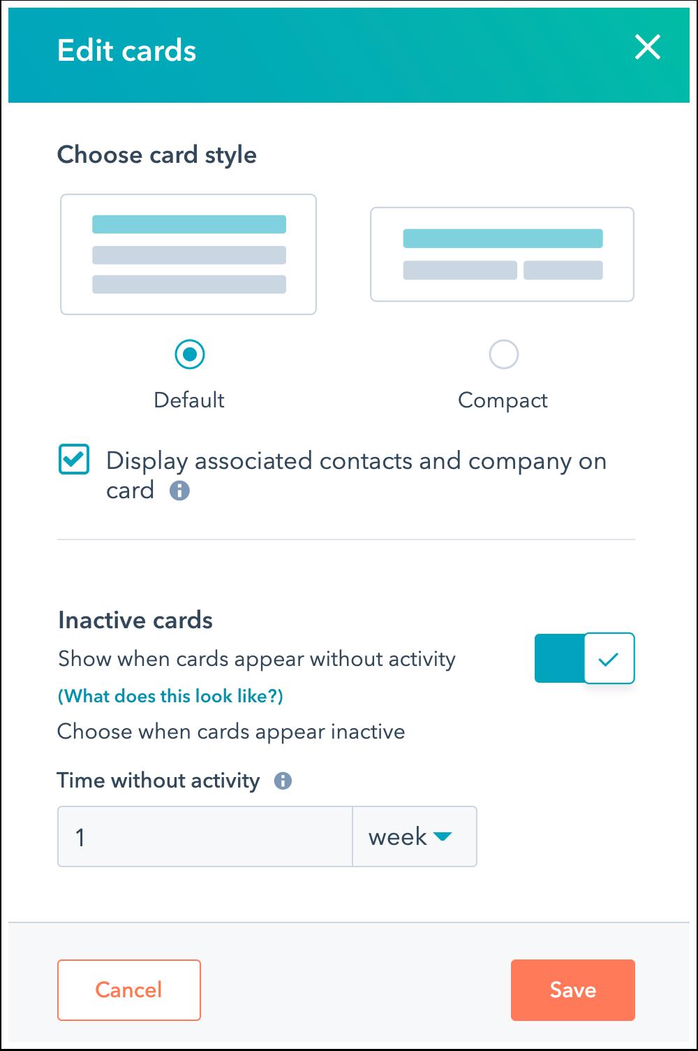 Screenshot of card editor within HubSpot