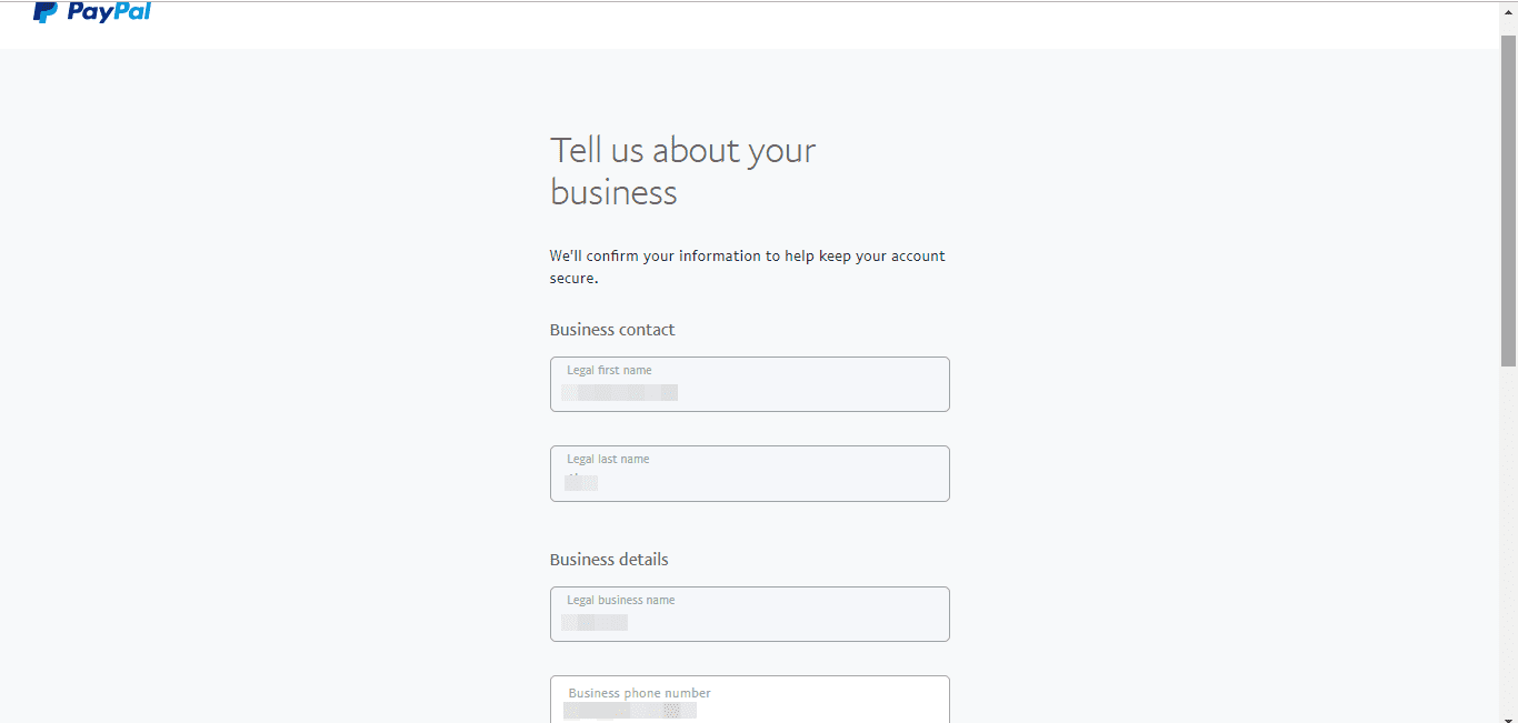 select a password for your business