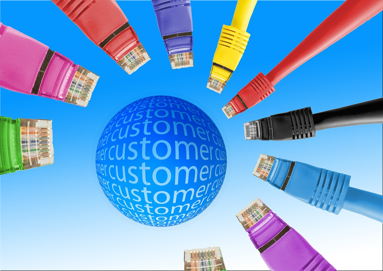 A ball with the word customer surrounded by cables