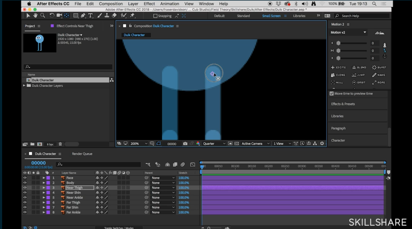 rig the character's body parts in after effects