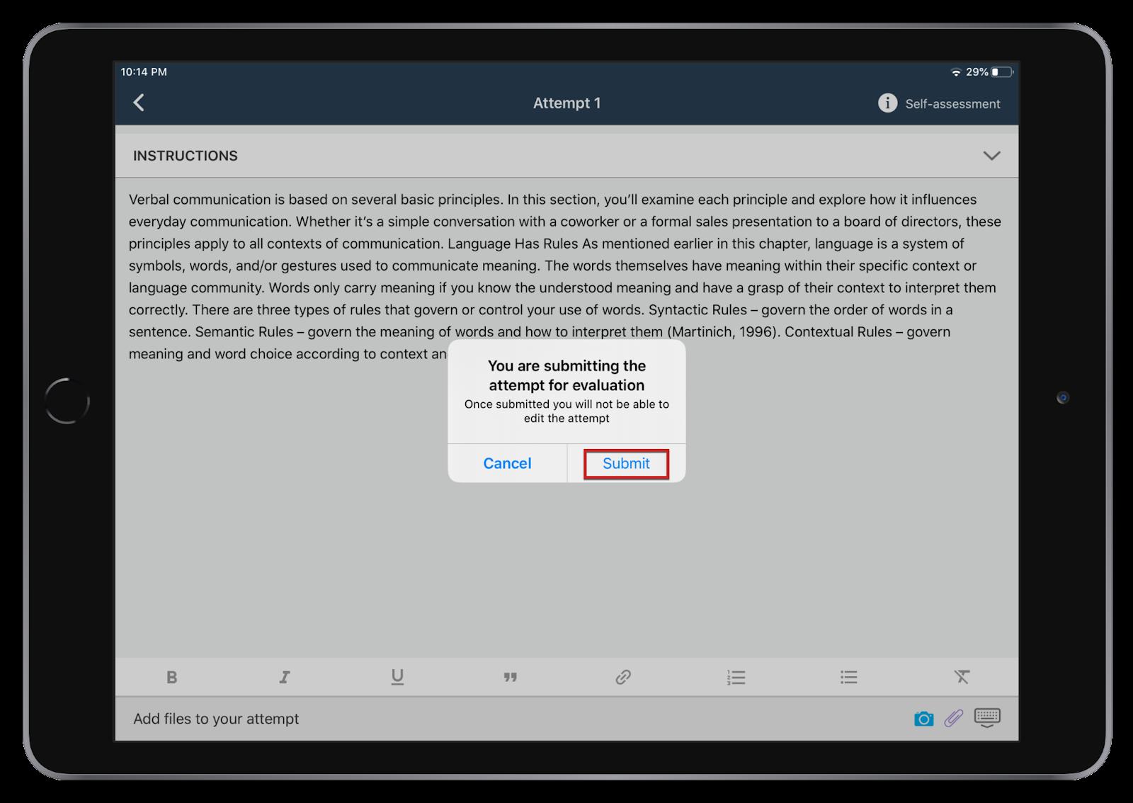 slef-assessment on teamie mobile apps