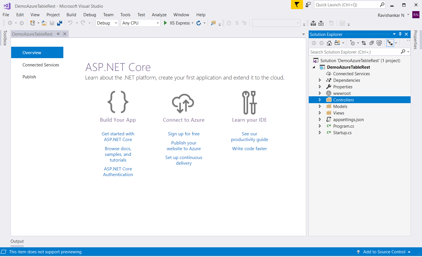 How To Access Data From Azure Table Storage Using Rest API in ASP.NET Core